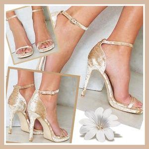 New Nasty Gal Crushed Velvet Ankle Strap Heel